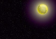 Mond und sternenklare Nacht Lizenzfreies Stockfoto