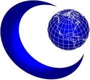 Mond- und Weltkugel lizenzfreie abbildung