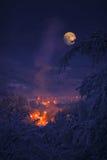 Mond am Winter Stockfotos