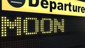 MOND-Wort, das auf Flughafenabfahrtbrett erscheint Raumfahrtin verbindung stehende Begriffs-Wiedergabe 3D Lizenzfreies Stockbild