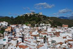 Monda Andalucia Spain. General view of town and surrounding countryside, whitewashed village (pueblo blanco), Monda, Malaga Province, Andalusia, Spain, Western Royalty Free Stock Image