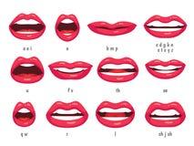 Mondanimatie Lippensynchronisatie geanimeerde fonemen voor het karakter van de beeldverhaalvrouw Monden met rode lippen die anima Stock Fotografie