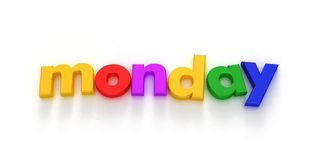 Monday. Word formed with colourful letter magnets on neutral background Stock Illustration