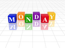 Monday in 3d coloured cubes. 3d coloured cubes with letters makes monday vector illustration