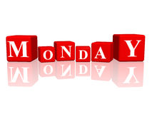 Monday in 3d cubes. 3d red cubes with letters makes monday Royalty Free Stock Photos
