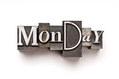 Monday. Day of the week photographed with vintage letterpress characters royalty free stock photography