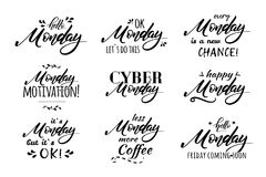 Monday coffee lettering vector illustration