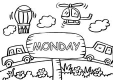 Monday coloring page with transportation. For kids stock illustration
