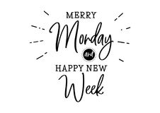 Monday cute planner quote. Marry monday and happy new week. Quote design. Modern brush calligraphy. Lettering and typography illustration for poster, card Royalty Free Stock Photo