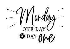 Monday day one motivation phrase stock illustration