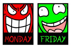 Monday and friday Royalty Free Stock Image