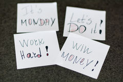 Monday messages written on white  paper notes Royalty Free Stock Photos