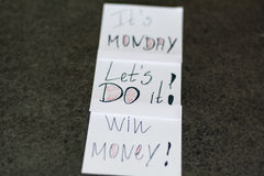 Monday messages written on white  paper notes Royalty Free Stock Images