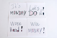 Monday messages written on white  paper notes Royalty Free Stock Photo
