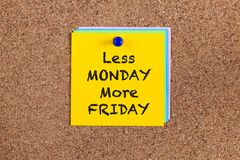 Less Monday More Friday on corkboard Stock Image