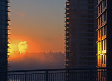 Monday Morning. Sunrise in downtown of Vancouver stock photos