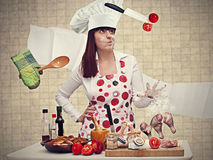 chef woman cooking with magic royalty free stock photo