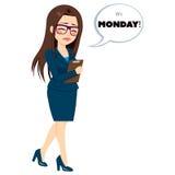 Monday Sad Walking Businesswoman Royalty Free Stock Photography