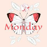 Monday Slogan with butterfly and rose. Vector patch for fashion apparels, t shirt, stickers, and printed tee design Stock Image