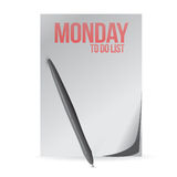 Monday to do list paper and pen. illustration Stock Photos