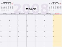 Monday to Sunday monthly calen Royalty Free Stock Photo