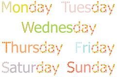 Monday to Sunday word Royalty Free Stock Photos