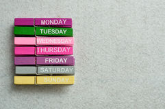 Monday to Sunday. Written on cloth pegs stock images
