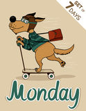 Monday. Weekdays hipster vector illustration calendar set Royalty Free Stock Image