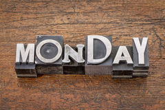 Monday word in metal type Royalty Free Stock Images