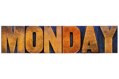 Monday word typography in wood type Stock Images