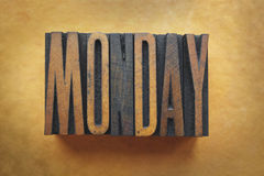 Monday. The word MONDAY written in vintage letterpress type royalty free stock images