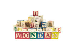 Monday written in letter colorful alphabet blocks isolated on wh Royalty Free Stock Image