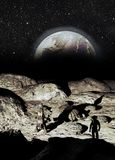Mondbasis und Earthrise vektor abbildung