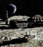 Mondbasis und Earthrise stock abbildung