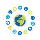 Monde écologique vert de Digital, Internet des choses - concept de construction abstrait avec des icônes Images stock