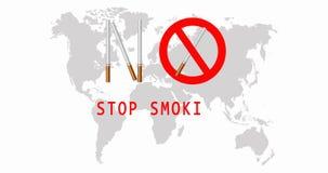 Monde aucun jour de tabac 31 mai aucun fumage de signe Panneau d'avertissement du tabagisme Carte du monde vid?o 4K illustration de vecteur