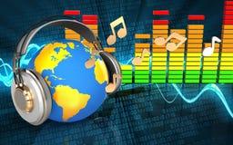 monde audio du spectre 3d dans des écouteurs Photo stock