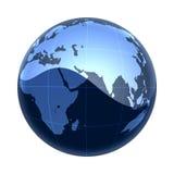 Monde bleu Afrique de carte vers l'Asie Images stock