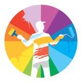 Monde coloré de peintre de pièce Images libres de droits