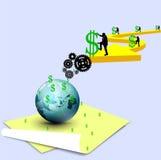 Monde conduit par argent Images libres de droits