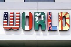 MONDE défini dans les drapeaux internationaux Photos stock