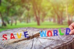 MONDE d'ÉCONOMIES en bois d'alphabet sur le tronçon d'arbre Arbre ou économies d'amour Photos stock