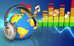 monde 3d dans des notes d'écouteurs illustration de vecteur