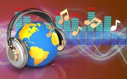 monde 3d dans le spectre d'écouteurs Image libre de droits