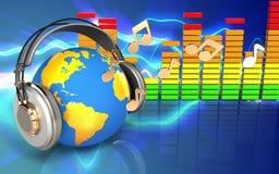 monde 3d dans le spectre d'audio d'écouteurs Photo libre de droits