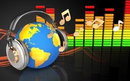 monde 3d dans le spectre d'audio d'écouteurs Photos stock