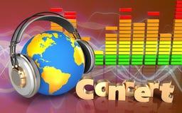 monde 3d dans le spectre d'audio d'écouteurs Images libres de droits