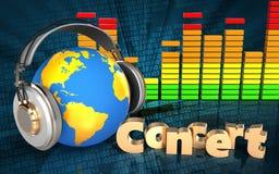 monde 3d dans le spectre d'audio d'écouteurs Photographie stock