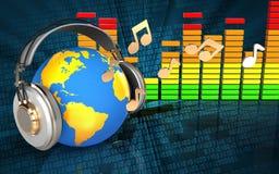 monde 3d dans le spectre d'audio d'écouteurs Image libre de droits