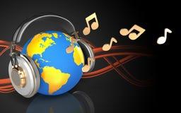 monde 3d en monde d'écouteurs dans des écouteurs illustration de vecteur